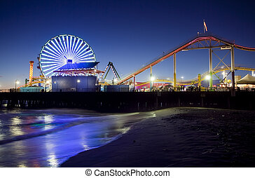 Santa Monica Pier at Night, Santa Monica, California
