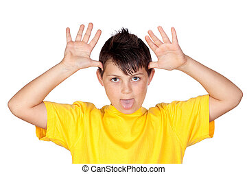 Funny child with yellow t-shirt mocking