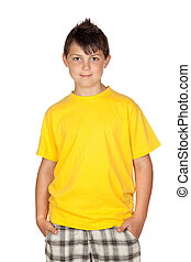 Funny child with yellow t-shirt