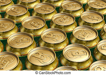 Metal drink cans with beer - Macro view of metal drink cans...
