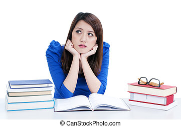 Cute student in deep thought - Portrait of a pensive female...