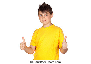 Funny child with yellow t-shirt saying Ok