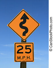 twisty road sign - old twisty road sign with 25 mph warning...