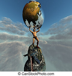 Atlas holds the Earth after he slays the dragon representing...