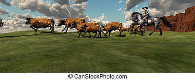 Cattle Roundup - A cowboy drives a herd of cattle back to...