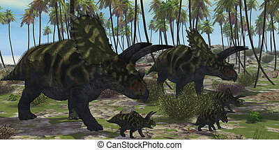 Coahuilaceratops Dinosaur - Two mother Coahuilaceratops...