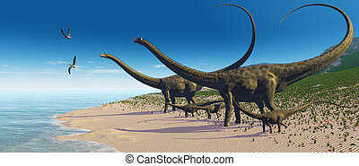 Diplodocus Herd - A Diplodocus herd comes down to a lake for...