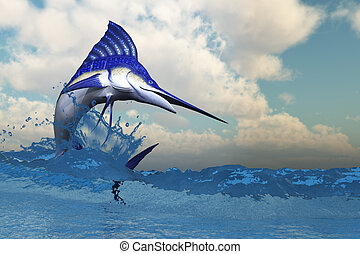 Marlin - A blue Marlin shows off his beautiful colors when...