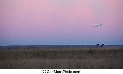 Landing of plane - Airplane landing during twilight