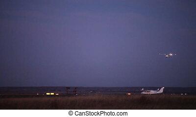 Landing - Airplane landing during twilight