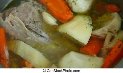 Boiling soup - Boiling meat soup with vegetables