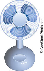 vector electric table fan on white background