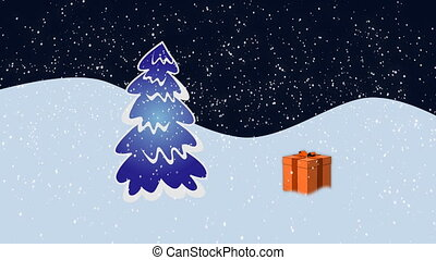 Gift fall - Christmas presents falling over fir-tree