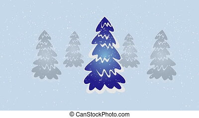 Dancing tree - Group of christmas trees with snow falling