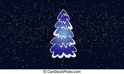 Christmas tree with snow falling