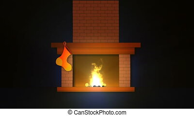 Christmas fireplace - Flash of christmas fireplace with...