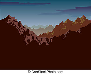 Jagged Mountains - A jagged mountain range. Overcast shadow...