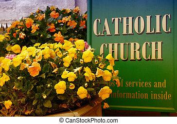教堂, 天主教徒, 花, 簽署