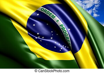 Flag of Brazil  against cloudy sky. Close up.