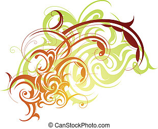 Floral swirls - Decorative abstraction with artistic tribal...