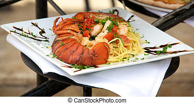 Seafood linguine with fresh lobster