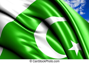 Flag of Pakistan against cloudy sky. Close up.