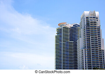 Sky scrapers - Two large modern sky scrapers against a...
