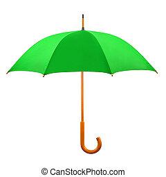 Opened green umbrella