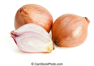Shallots isolated on white background with clipping path
