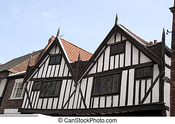 Halftimbered Buildings - Black and White Half Timbered...