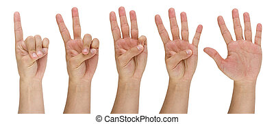 mans finger pointing from one to five - image of a mans...