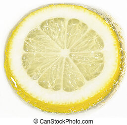 lemon with bubbles  on white background