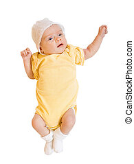 baby in onesie over white - 1 month baby in onesie over...