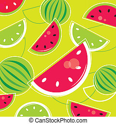 Fresh Summer Melon retro background / pattern - pink and green