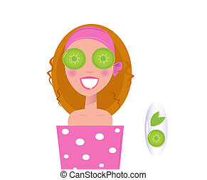 Wellness girl relaxing with cucumber on eyes green - Vector...