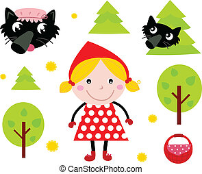 Little Red Riding Hood and Black Wolf icon collection - Red...