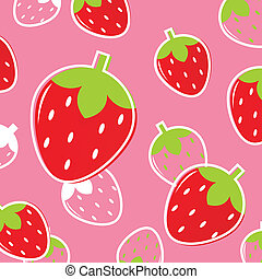 Fresh Strawberry Fruit pattern or background: pink & red -...