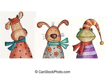 Cartoon characters. - Artistic work. Colour pencils on...