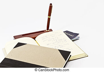 Old Fashioned Writer's Tools - Open, notated journal, desk...