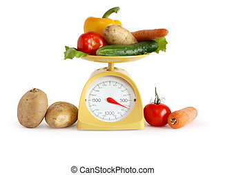 Vegetables On Weight Scale - Modern kitchen scale and...