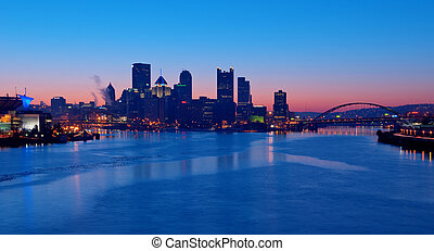 Pittsburgh Skyline at Sunrise - A view of Pittsburgh;...