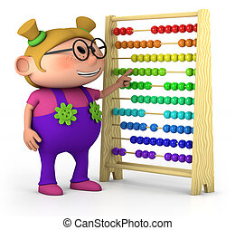 smart girl - smart little girl with abacus - high quality 3d...
