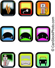 fuel related icons - icons in colors in rectangles that are...
