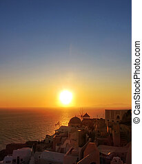 Sunset in Oia Santorini Greece - Famous sunset in Oia...