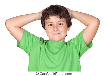 Funny child with green t-shirt
