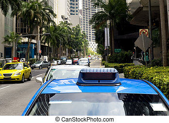 Singapore taxi - Taxi in the central sreet in Singapore....