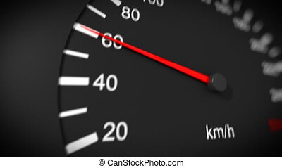 Car speedometer HD - Car speedometer and moving pointer on...