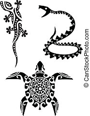 reptile, tribal, tatouage