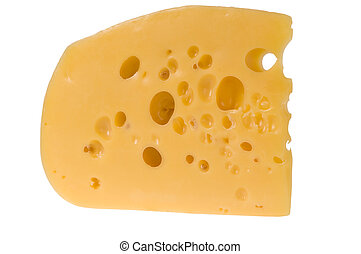 Yellow slice of cheese isolated - A slice of yellow cheese...