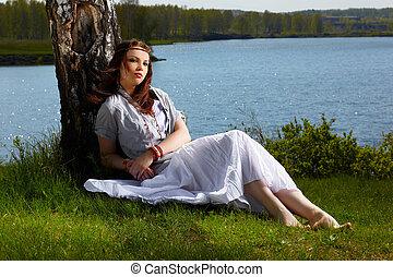 beautiful hippie girl - outdoor portrait of beautiful hippie...
